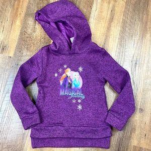 Frozen Anna Elsa Hooded Fleece Purple Sz 6